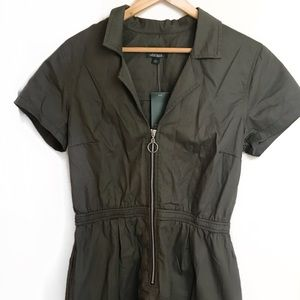 olive green utility jumpsuit shorts